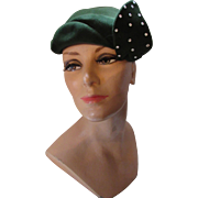 1940 Style Velour Hat in Forest Green with Rhinestone Studded Jaunty Leaf
