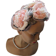 Mid Century Half Hat with Huge Pink Cabbage Roses