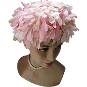 SALE 1960 Bouffant or Bubble Hat in Spring Pink Petals by Dayire