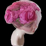 SALE Vintage Half Hat in Bright Peony Pink Roses