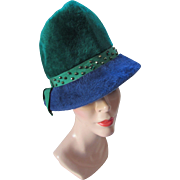 Cloche Hat in Long Fur Electric Blue and Kelly Green by Loveman's Inc McHenry's Hat Nashville