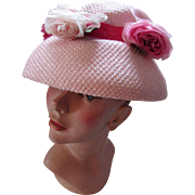 SALE Pink Mushroom Style Hat with Trio of Fuchsia, Pink and White Flowers