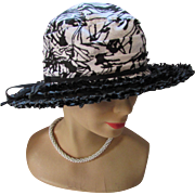 Black and White Fabric Hat with High Top and Wide Straw Brim by Le Charme