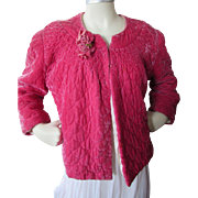 SALE PENDING Fantastic Fuchsia Velvet Quilted Evening or Bed Jacket by Ungar