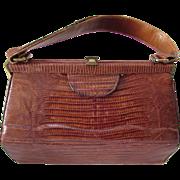 Mid Century Alligator Purse Handbag