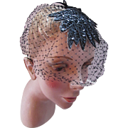 SALE Veil Hat Black Net, Sequin and Bugle Bead Whimsy