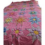 SALE Mid Century Quilt in Pink with Puffed Blossoms Hand Stitched