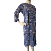 SALE 1940 Style Dress and Jacket in Rayon Navy and White Print