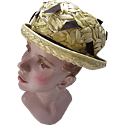 Mid Century Hat in Butter Yellow Straw with Chocolate Brown Flutters Modified Breton Style