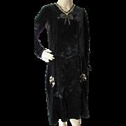 SALE Black Velvet Dress with Flower Medallion Embroidery 1920 1930