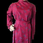 Two Piece 1940 Era Dress in Rose Taffeta by Maisonette Frocks Ward Stillson Anderson