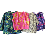 Four 1960 Era Colorful Blouses Ready for Finishing