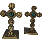 Bookends Renaissance Style Crosses in Metal with Decorative Stones