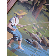 SALE Paint by Numbers Framed Boy Fishing in Field and Stream Theme