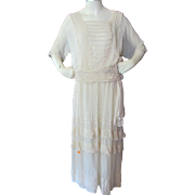 SOLD Turn of the Century Graduation Dress in Oyster Chiffon for Display