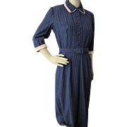 SALE Mid-Century Office Dress in Navy Pinstripe with Red & White Collar and Cuffs