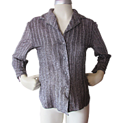 1970 Disco Style Blouse in Silver Metallic Thread by Adelaar