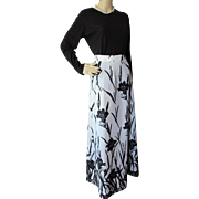 SALE 1970 Style Long Skirt in White with Black Flowers Polyester