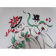 Cute Christmas Holiday Hankie with Adorable Snowman and Snow-woman