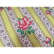 Length of Fabric in Yellow Stripe and Pink Rose Cotton