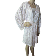 SALE Robe and Gown Negligee Set in White Silky Rayon by Oscar de la Renta