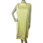 SALE Summer Dress in Lemon Yellow with Pink Flower Embroidery Sag Harbor