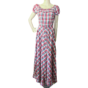 1940 Style Dance Dress or Rock-a-Billy Dress for Barn Dances in Red Plaid