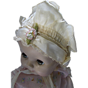 Sweetest Baby or Doll Bonnet in Cream Tone Tissue Fabric and Satin Ribbon Accent
