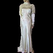 SALE Gorgeous 1930 Era Wedding Dress in Oyster Satin with Photo