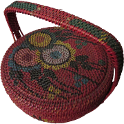 SOLD Wicker Sewing Basket Asian Influence Red with Painted Decoration - Red Tag Sale Item