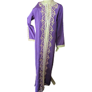 SALE Long Caftan Lounge Gown in Grape Color Moire with Straw Tone Braid Embellishment
