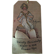 SALE Edwardian Era Painted Gibson Lady Nail Care Linen Pocket