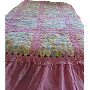 Cottage Style Yo Yo Quilt Full Size in Pretty Pastel Prints and Bubble Gum Pink ...