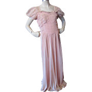 SALE 1940 1950 Party or Prom Dress in Ruched Pink Nylon