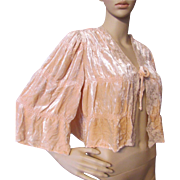 SOLD Exquisite Romantic 1940's Style Bed Jacket in Peach Panne Velvet & Lace Accents