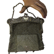 SALE Silver Tone Mesh Purse Art Nouveau Style with Cupids and Hearts