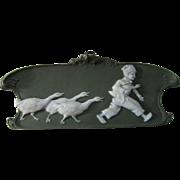 Dresden Green Jasperware Plaque Boy and Geese