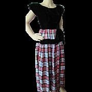 Fantastic 1940 Era Dance Dress in Black Velvet and Red Gray Plaid