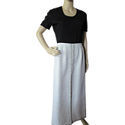 Mod Black Knit and Silver Metallic Long Gown 1970 Style Leslie Fay