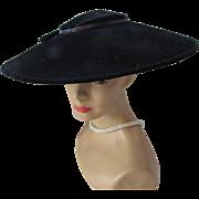 Black Velvet Saucer Hat in New Look Style Mid Century