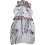 SALE Cutest Clown Laundry Bag or Clothespin Bag Handmade in Muslin, Paisley Print and Hand Emb