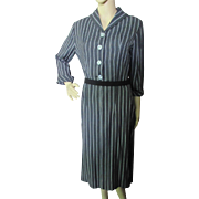SALE Professional Mid-Century Office Dress in Charcoal Gray Stripe