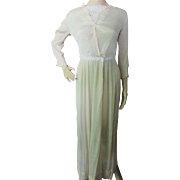 SALE Edwardian Summer Dress in Oyster Tone Voile Pleats and Lace