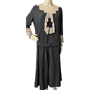 REDUCED 1920 1930 Black Silk Taffeta Dress Transitional from Victorian to Deco