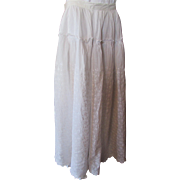 SALE Victorian Edwardian Summer Skirt in Voluminous White Eyelet
