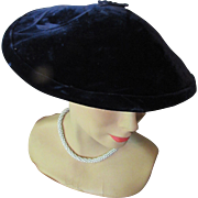 SALE Mid-Century Pagodine Hat in Midnight Blue Velvet Wide Brim