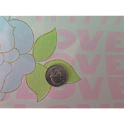 REDUCED Vintage LOVE Wallpaper Mod Style in Pink and Blue Pastel Flower Power