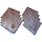 SOLD Two Sets Vintage Embroidered Luncheon or Tea Napkins