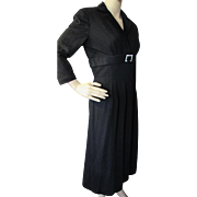 SALE Mid Century Black Dress Knit with Empire Waist and Rhinestone Buckle by Kahn Junior Minne