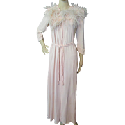 SALE Sophisticated Robe in Peach Rayon with Ostrich Feathers Hollywood Style by Brendelle